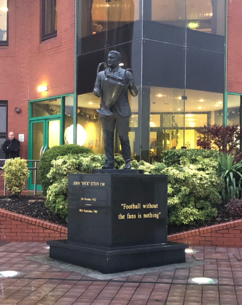 Statue of John 'Jock' Stein at Celtic Football Club Glasgow